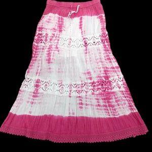 Jessica Taylor Womens Peasant Skirt Pink Tie Dye